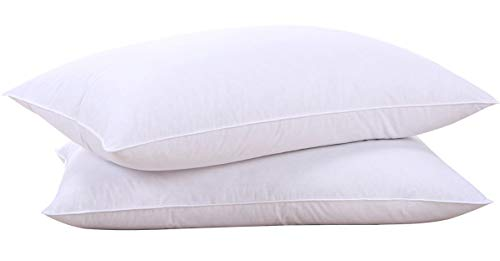 puredown Goose Down Feather White Pillow Inserts, 100% Cotton Fabric Cover Bed Pillows, Set of 2 Standard Size