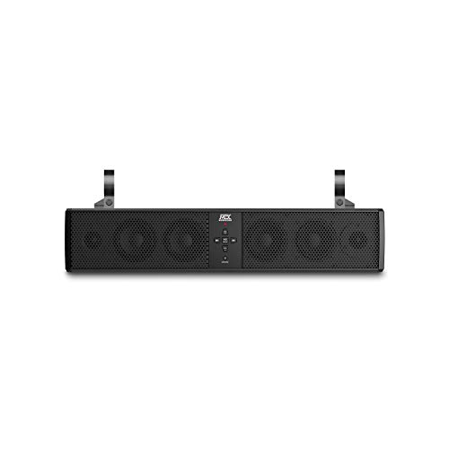 MTX MUD6SPBT Mud Series Universal Weatherproof 6 Speaker ATV UTV Motorcycle Boat Bluetooth Enabled Sound Bar with 3.5mm Aux Input and Output, and Mounting Clamps, Black