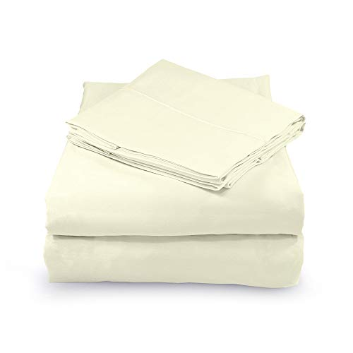 Whisper Organics, 100% Organic Cotton Sheets - 300 Thread Count Bed Sheets Set - Premium Quality Sheets - Deep Pocket Sheet Set - GOTS Certified, Ivory Color (Twin XL Size)