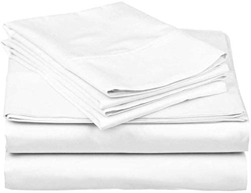 Hotel Luxury 600 Thread Count 100% Organic Cotton 4-Piece Bed Sheet Set Fits Mattress Upto 16'' Deep Pocket Sateen Weave, Breathable Soft Cotton (King 76x80, White Solid)