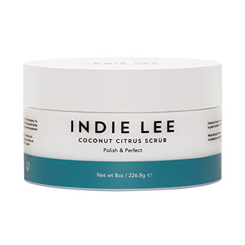 Indie Lee Coconut Citrus Body Scrub - Hydrating Shower + Bath Exfoliator with Cane Sugar + Jojoba Oil for Removing Dead Skin - Great for Rough, Dry Skin - Use on Legs, Elbows, Hands (8oz / 226.8g)