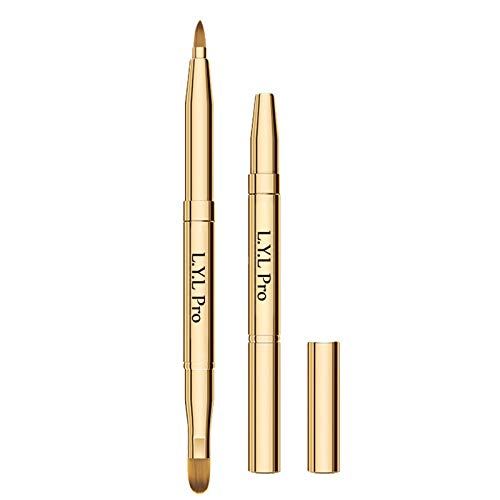 L.Y.L Pro Gold Retractable Lip Makeup Brushes Double-Ended Retractable Lip Brush Travel Lipstick Gloss Makeup Brushfor Christmas Gifts