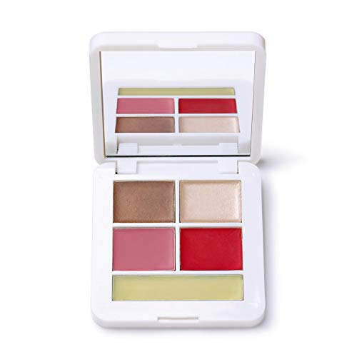 RMS Beauty Signature Set, Pop Collection - Organic Makeup Palette for Natural Skincare with Contour Set of Bronzer & Highlighter, Blush & Lip Balm - Supports Hydrated Skin, Cruelty-Free (5 Products)