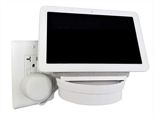 The Google Home Hub Nest Hub Mount for Kitchen and Bathroom Outlets. Full Swivel. Installs in Seconds. Hidden Cord Storage. Award Winning Design.