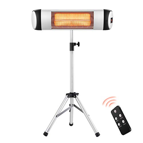 RMYHOME Infrared Patio Heater, Free-Standing Electric Heater for Outdoor or Indoor, Adjustable Stainless Steel Tripod, Energy Saving and Safety Protection