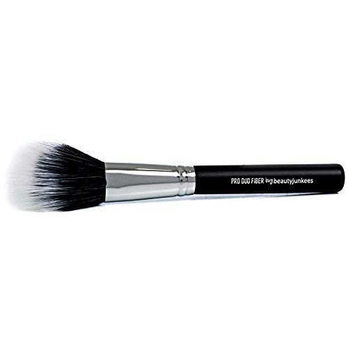 Domed Blush Bronzer Brush - Beauty Junkees Duo Fiber Contour Brush for Contouring, Sculpting, Highlighting, Blending, Buffing with Powder Cream Liquid Cosmetics, Synthetic, Vegan Makeup Brushes