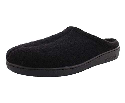 HAFLINGER Unisex AT Wool Hard Sole Slippers, Black, 36EU