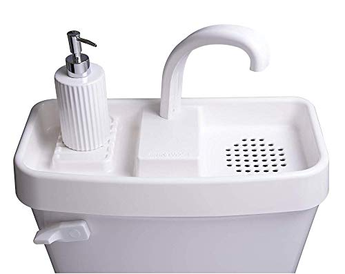 Sink Twice for toilet tanks measuring 15.25' - 16.8' (measured with lid off)