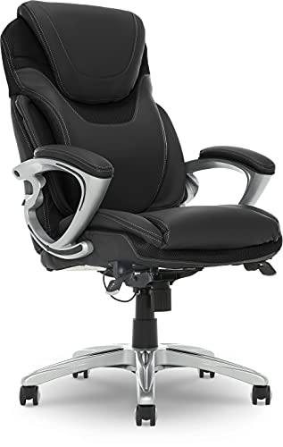 Serta AIR Health and Wellness Executive Office Chair, High Back Big and Tall Ergonomic for Lumber Support Task Swivel, Bonded Leather, Black