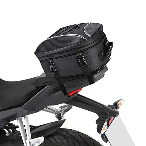 kemimoto Motorcycle Tail Bag, Dual Use Motorcycle Seat Bag with Waterproof Rain Cover, 30L Expandable Luggage Storage Bag with 6 straps