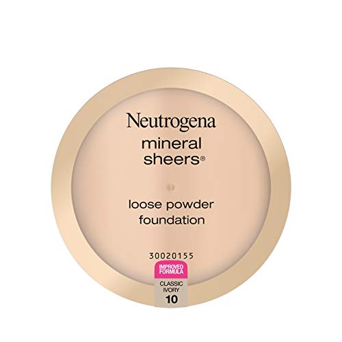 Neutrogena Mineral Sheers Lightweight Loose Powder Makeup Foundation with Vitamins A, C, & E, Sheer to Medium Buildable Coverage, Skin Tone Enhancer, Face Redness Reducer, Classic Ivory 10,.19 oz