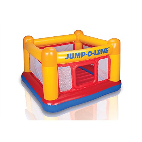 Intex Inflatable Jump-O-Lene Playhouse Trampoline Bounce House for Kids Ages 3-6 Pool Red/Yellow, 68-1/2' L x 68-1/2' W x 44' H