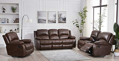 Betsy Furniture 3PC Bonded Leather Recliner Set Living Room Set, Sofa Loveseat Chair Pillow Top Backrest and Armrests 8018 (Brown, Living Room Set 3+2+1)