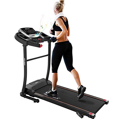 Merax Electric Folding Treadmill – Easy Assembly Fitness Motorized Running Jogging Machine with Speakers for Home Use, 12 Preset Programs