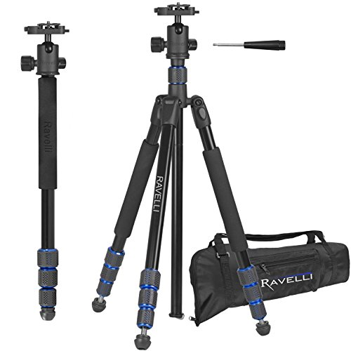 Ravelli APGL5 Professional 65' Ball Head Camera Video Photo Tripod with Quick Release Plate and Carry Bag