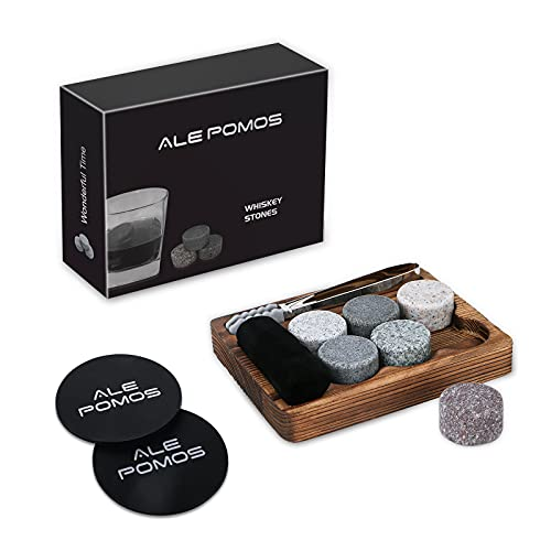 Whiskey Stones Gifts Set for Men - 6 Handcrafted Granite Whiskey Rocks Chilling Stones in Classic Elegant Hardwood Tray, Gift-Ready Whiskey Drink Stones Set,Whiskey Bourbon Gifts For Men