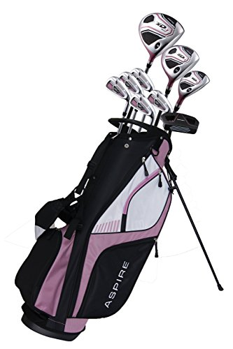 Aspire XD1 Ladies Womens Complete Right Handed Golf Clubs Set Includes Titanium Driver, S.S. Fairway, S.S. Hybrid, S.S. 6-PW Irons, Putter, Stand Bag, 3 H/C's Pink (Cherry Right Hand Tall Size +1')