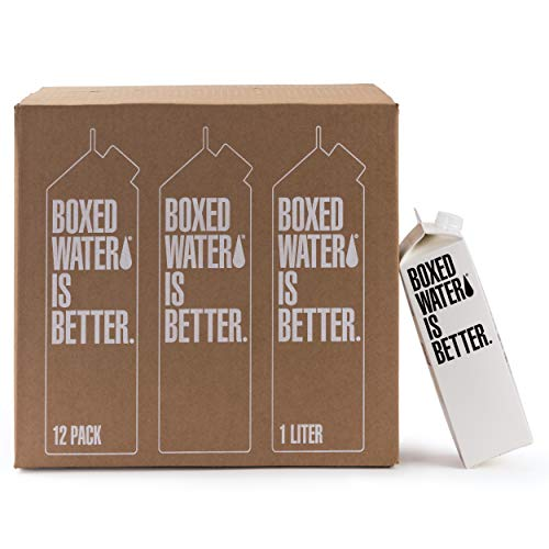 Boxed Water 33.8 oz. (12 Pack) – Purified Drinking Water in 92% Plant-Based Boxes, 100% Recyclable, BPA-Free, Refillable 1 Liter Water Cartons – Sustainable Alternative to Plastic Bottled Water