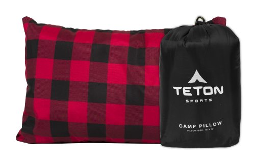 TETON Sports Camp Pillow; Great for Travel, Camping and Backpacking; Washable, Black, 12 x 18 inches ; 9.6 ounces