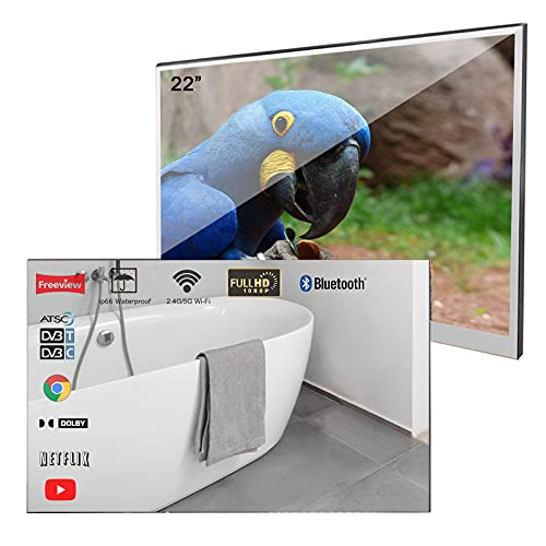 Soulaca- Velasting 22 inches Bluetooth Smart LED TV for Bathroom Magic Mirror Television SPA Android 7.1 (22 inch, Mirror)