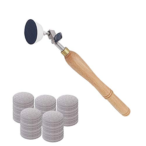 Bowl Sander, Sanding Tool for Woodworking, With 2 Inch Hook and Loop Sanding PU Pad and 11.8 Inch Long Hardwood Handle, Total 50 Pcs Sandpaper Discs in Grits 80/120/150/180/240