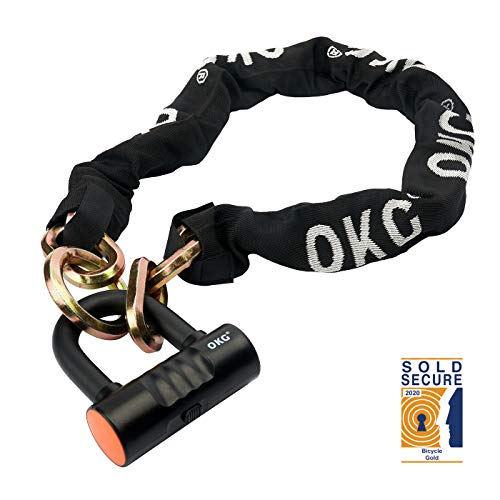 OKG Bike Chain Locks Moped Lock & Chain Set Motorcycle Chain Lock with 12mm Chain and 16mm U Shackle Lock 2.6FT, 8lbs Security Heavy Duty Lock for Bikes, Mopeds, Scooters and Motorcycles