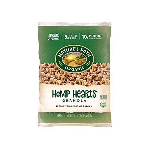 Nature's Path Organic Hemp Hearts Granola, 1.65 Lbs. Earth Friendly Package (Pack of 6), Non-GMO, 30g Whole Grains, Heart Healthy, 10g Plant Based Protein, with Omega-3 Rich Flax Seeds