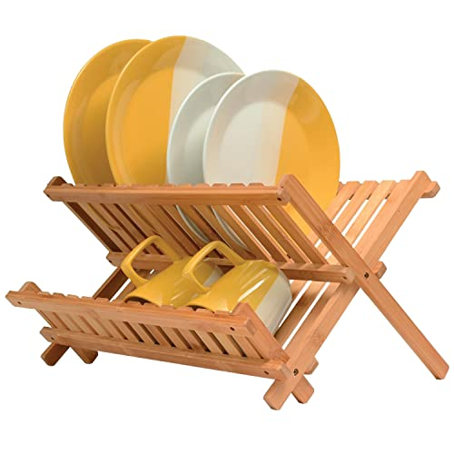 Bamboo Collapsible Dish Drying Rack - Wooden 2-Tier Dish Drainer Kitchen Plate Rack for Kitchen Countertop - Foldable & Compact for Space-Saving Storage
