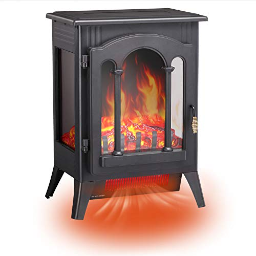 RMYHOME Infrared Electric Fireplace Stove, 16.3' Freestanding Fireplace Heater with Adjustable Brightness and Heating Mode, Realistic Flame Effects, Overheating Safety Protection System