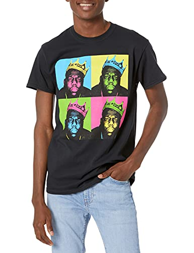 The Notorious B.I.G Men's Multi-Colored Crown T-Shirt, Black, Small