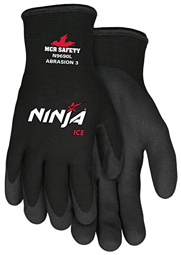 2 Pack Manufacturer Memphis Glove Model N9690L Ninja Ice 15 Gauge, HPT Palm and Fingertips, Large, Color Black, Material Nylon Cold Weather Glove, Acrylic Terry Inner