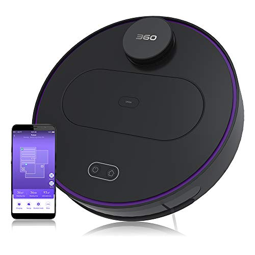 360 S6 Robot Vacuum and Mop Cleaner, Compatible with Alexa, Intelligent Cleaning with Laser Navigating,Multi-Map Management, Up to 110Min for Pet Hair, Carpet and Hard Floor Black