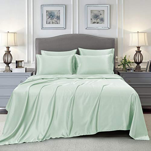 Homiest 6-Pieces Satin Sheets King Size Luxury Silky Satin Bedding Set with Deep Pocket 1 Fitted Sheet + 1 Flat Sheet + 4 Pillowcases, Mint Green