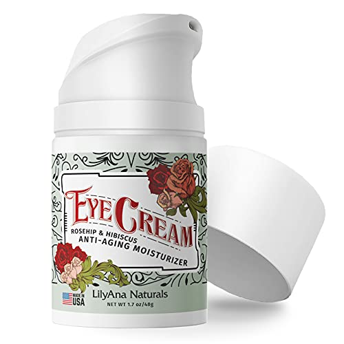 LilyAna Naturals Eye Cream - 2-Month Supply - Made in USA, Eye Cream for Dark Circles and Puffiness, Under Eye Cream, Anti Aging Eye Cream, Improve the look of Fine Lines and Wrinkles, Rosehip and Hibiscus Botanicals - 1.7oz (1-Pack)