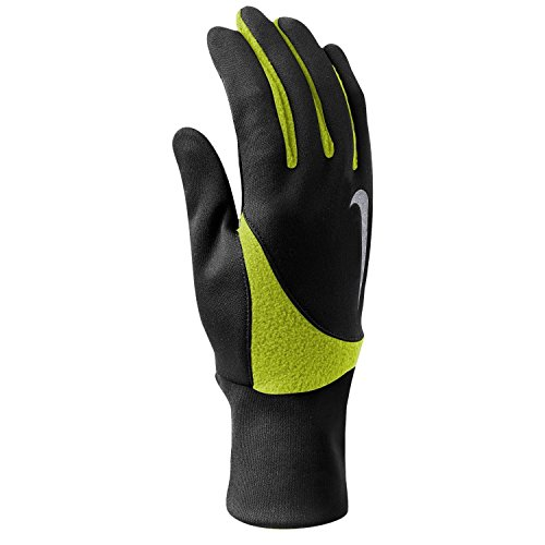 Nike Men`s Solid Element Thermal 2.0 Gloves (Black (NRGB102-833006) / Volt/Reflective Silver, Small)