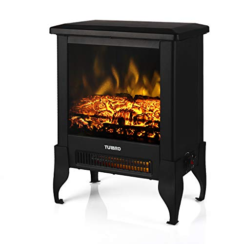 TURBRO Suburbs TS17 Compact Electric Fireplace Stove, Freestanding Stove Heater with Realistic Flame - CSA Certified - Overheating Safety Protection - for Small Spaces - 18' 1400W
