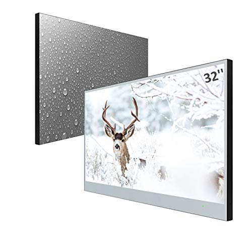 Elecsung 32inch Smart Mirror TV for Bathroom IP66 Waterproof Android System with Integrated HDTV(ATSC) Tuner and Built-in Wi-Fi&Bluetooth