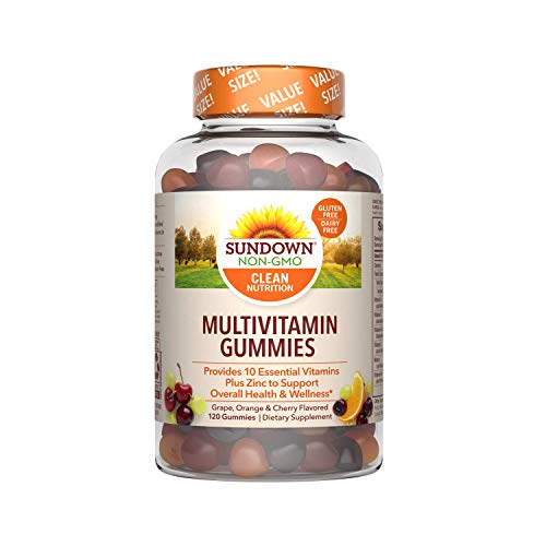 Sundown Adult Multivitamin Gummies with Vitamin C, D3 and Zinc for Immune Health, Gluten-Free, Dairy-Free, Non-GMO, 120 Count