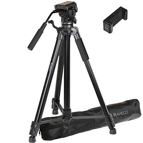 Ravelli AVTH 72' Light Weight Aluminum Video Tripod with Bag Includes Universal Smartphone Mount
