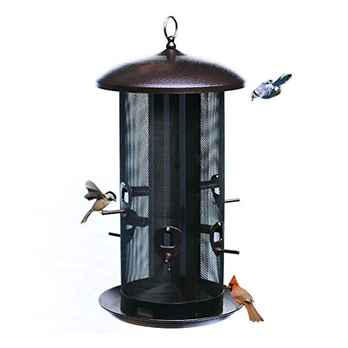 Nature's Rhythm Metal Hopper Bird Feeder Two Chambers,Heavy Duty Mesh Metal Dual Seed Compartments Outdoor Hanging Metal Wild Bird Feeder with 6 Feeding Ports,10lbs Seed Capacity