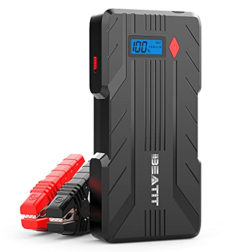 BEATIT QDSP 1200A Peak 16500mAh 12V Portable Car Lithium Jump Starter (up to 8.0L Gas and 6.0L Diesel) Battery Booster Phone Charger Power Pack with Smart Jumper Cables B7