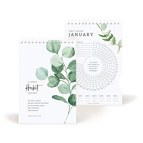 Bliss Collections Habit Tracker Calendar Notepad, Spiral Bound Greenery Floral Journal to track progress and reach your goals - Undated 12 month Journal