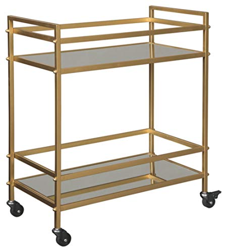 Signature Design by Ashley Kailman Modern Glam Metal Rolling Bar Cart with Caster Wheels, 32', Gold Finish