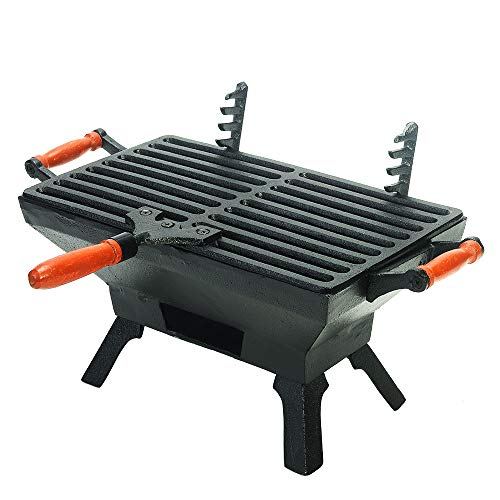 Sungmor Heavy Duty Cast Iron BBQ Grill - Indoor Outdoor Tabletop Small Charcoal Grill Stove - 31.5 x 19CM, Rectangle - Ideal Smoker Grill for Barbecues, Camping, Picnics, Parties