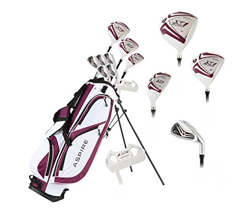 Aspire X1 Ladies Womens Complete Golf Club Set Includes Driver, Fairway, Hybrid, 6-PW Irons, Putter, Stand Bag, 3 H/C's Purple - Regular or Petite Size! (Petite Size -1', Right Handed)