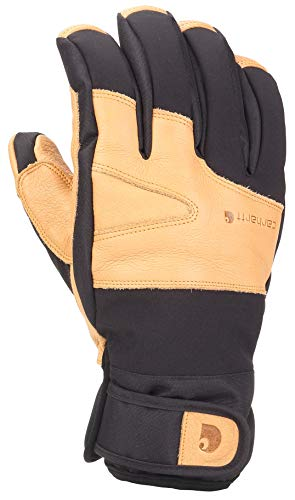 Carhartt Men's Winter Dex Cow Grain Leather Trim Glove, black/Brown, Small