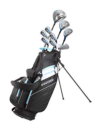 Precise AMG Ladies Womens Complete Golf Clubs Set Includes Driver, Fairway, Hybrid, 6-PW Irons, Putter, Stand Bag, 3 H/C's - Choose Color and Size! (Light Blue, Petite Size -1')