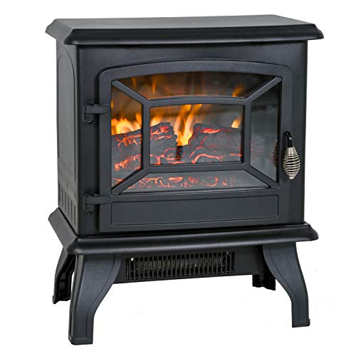 Electric Fireplace Heater 20' Freestanding Fireplace Stove Portable Space Heater with Thermostat for Home Office Realistic Log Flame Effect 1500W CSA Approved Safety 20' Wx17 Hx10 D,Black