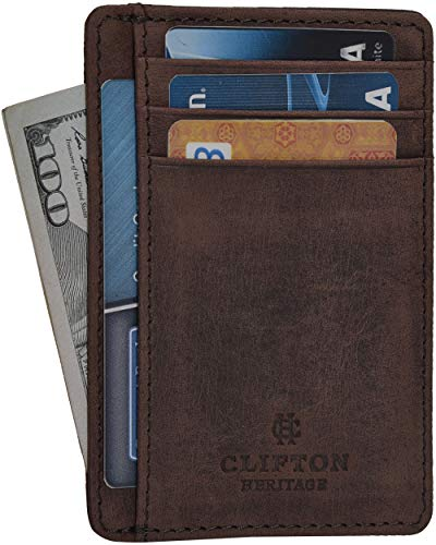 Minimalist Wallets for Men & Women RFID Front Pocket Leather Card Holder Wallet