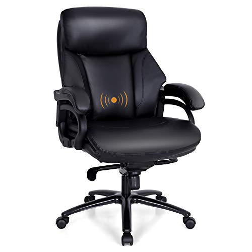 PHI VILLA Office Chair with High Back,Ergonomic Desk Chair with Massage Lumbar Support,Executive Office Chair with Enlarged Back,Weight Capacity 300 lbs,PU Leather,Black